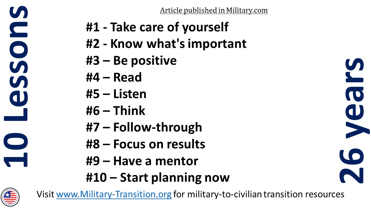 lessons after the military